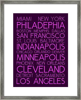 American Cities In Bus Roll Destination Map Style Poster Framed Print
