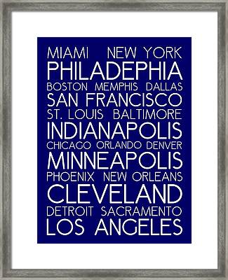 American Cities In Bus Roll Destination Map Style Poster - Blue Framed Print by Celestial Images