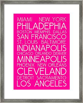 American Cities In Bus Roll Destination Map Style Poster - Pink Framed Print by Celestial Images