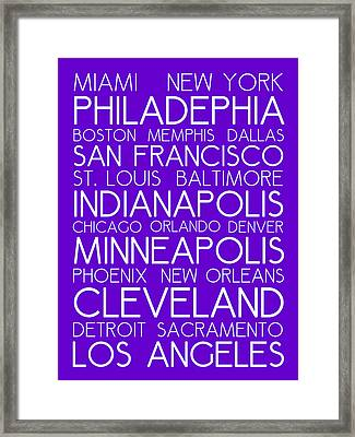 American Cities In Bus Roll Destination Map Style Poster - Purple Framed Print by Celestial Images