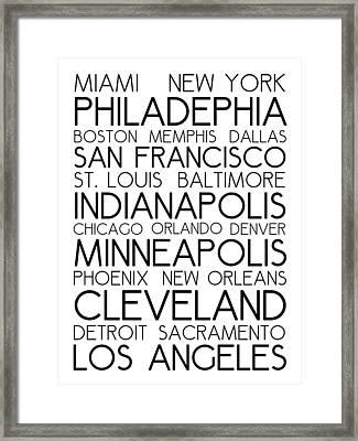 American Cities In Bus Roll Destination Map Style Poster - White Framed Print by Celestial Images
