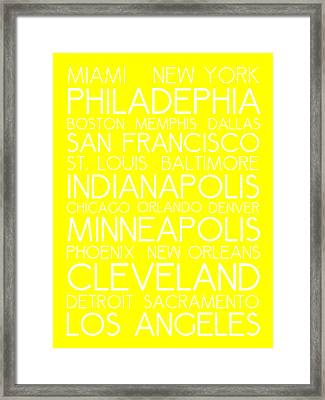 American Cities In Bus Roll Destination Map Style Poster - Yellow Framed Print by Celestial Images