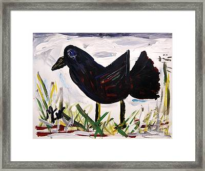 Framed Print featuring the painting American Crow by Mary Carol Williams