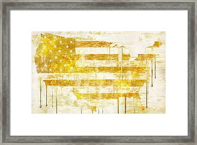 American Flag Map Framed Print by Mindy Sommers