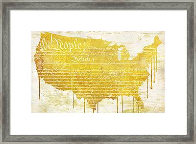 Gold American Map Constitution Framed Print by Mindy Sommers