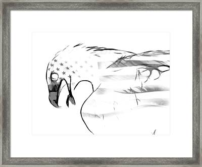 American Eagle Black And White Framed Print