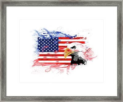 American Eagle, Flag, Usa, America, Splash Style Framed Print