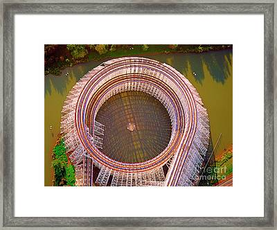 Framed Print featuring the photograph American Eagle Roller Coaster  by Tom Jelen