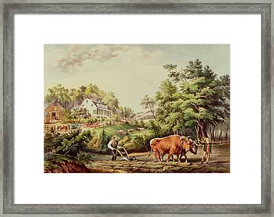 American Farm Scenes Framed Print by Currier and Ives