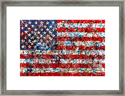Framed Print featuring the painting American Flag Abstract With Trees by Genevieve Esson