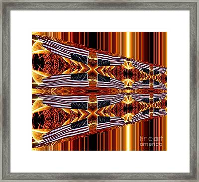 American Flag And Fireworks Horizontal Streaks Abstract Framed Print by Rose Santuci-Sofranko