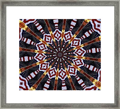 American Flag And Fireworks Kaleidoscope Abstract 2 Framed Print by Rose Santuci-Sofranko
