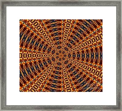 American Flag And Fireworks Kaleidoscope Abstract 5 Framed Print by Rose Santuci-Sofranko