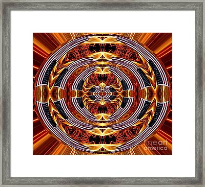 American Flag And Fireworks Polar Coordinates Abstract Framed Print by Rose Santuci-Sofranko