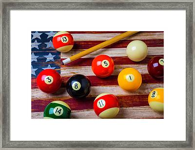 American Flag And Pool Balls Framed Print by Garry Gay