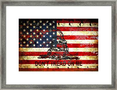 American Flag And Viper On Rusted Metal Door - Don't Tread On Me Framed Print