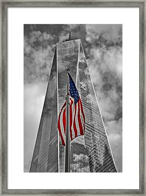 American Flag At World Trade Center Wtc Bw Framed Print