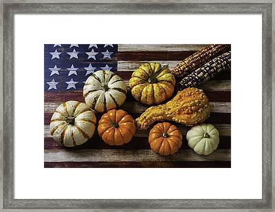 American Flag Autumn Harvest Framed Print