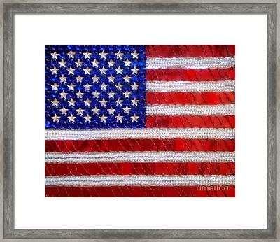 American Flag. Beadwork With Rhinestones  Framed Print
