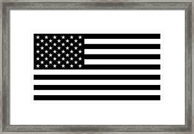 American Flag - Black And White Version Framed Print