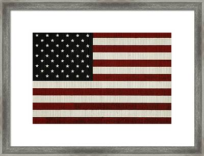 American Flag Mural On A Tin Barn Framed Print