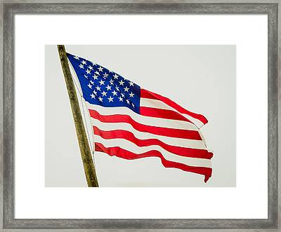 American Flag - Proudly It Waves Framed Print by Debra Martz