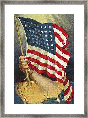 American Flag Emerging From America Framed Print by American School