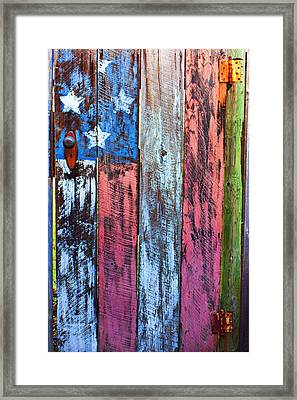 American Flag Gate Framed Print by Garry Gay