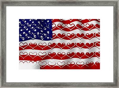 American Flag In Hearts Framed Print by Yury Malkov