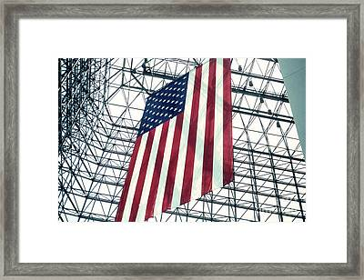 American Flag In Kennedy Library Atrium - 1982 Framed Print by Thomas Marchessault