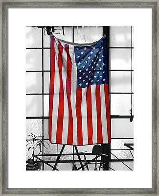 American Flag In The Window Framed Print by Mike McGlothlen
