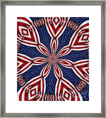 American Flag Kaleidoscope Abstract 1 Framed Print by Rose Santuci-Sofranko