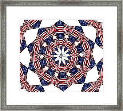 American Flag Kaleidoscope Abstract 3 Framed Print by Rose Santuci-Sofranko
