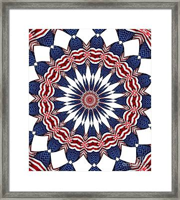 American Flag Kaleidoscope Abstract 4 Framed Print by Rose Santuci-Sofranko