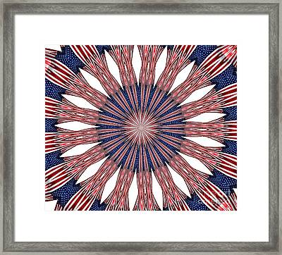 American Flag Kaleidoscope Abstract 5 Framed Print by Rose Santuci-Sofranko