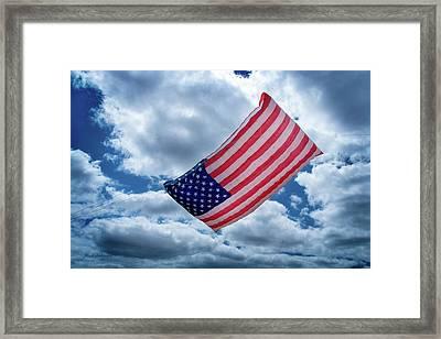 American Flag Kite Framed Print