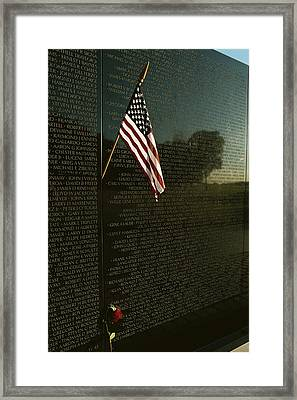 American Flag Left At The Vietnam Framed Print