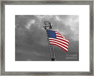 American Flag On A Fire Truck Ladder Framed Print by Mark Hendrickson