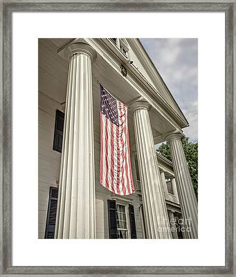 American Flag On Period House Framed Print by Edward Fielding