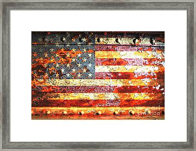 American Flag On Rusted Riveted Metal Door Framed Print