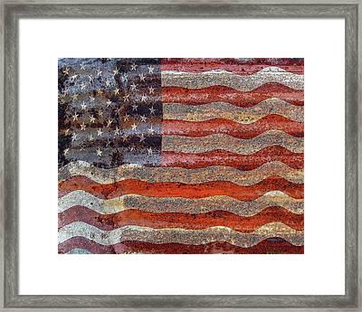 American Flag On Rusty Tin Framed Print by Rebecca Korpita