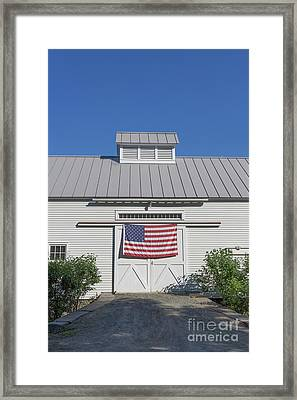 American Flag On White Barn Framed Print by Edward Fielding