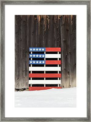 American Flag Painted On A Pallet Framed Print