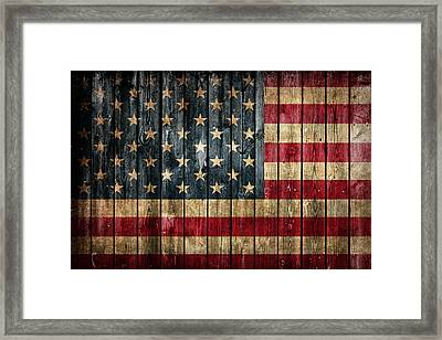 American Flag Painted On Reclaimed Barn Wood Framed Print by Design Turnpike