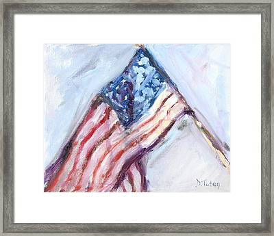 American Flag Painting Framed Print by Donna Tuten