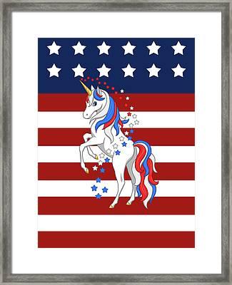 American Flag Patriotic Unicorn Framed Print