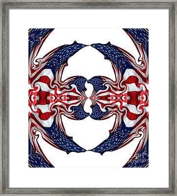 American Flag Polar Coordinate Abstract 1 Framed Print by Rose Santuci-Sofranko