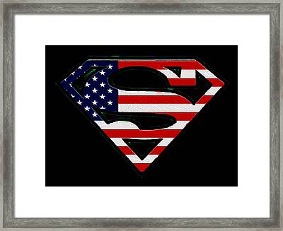 American Flag Superman Shield Framed Print