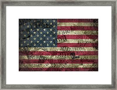 American Flag Vintage Assorted License Plate Art Framed Print
