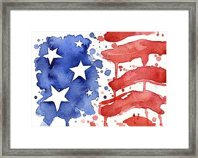 American Flag Watercolor Painting Framed Print by Olga Shvartsur